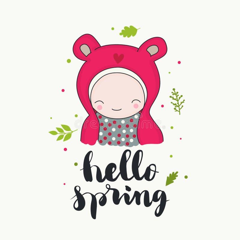 Hola carácter lindo de la primavera ilustración del vector