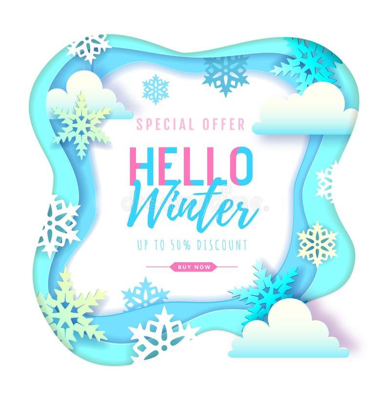 Hola cartel de la tipografía del invierno con los copos de nieve y las nubes Dise?o cortado del estilo del arte del papel ilustración del vector