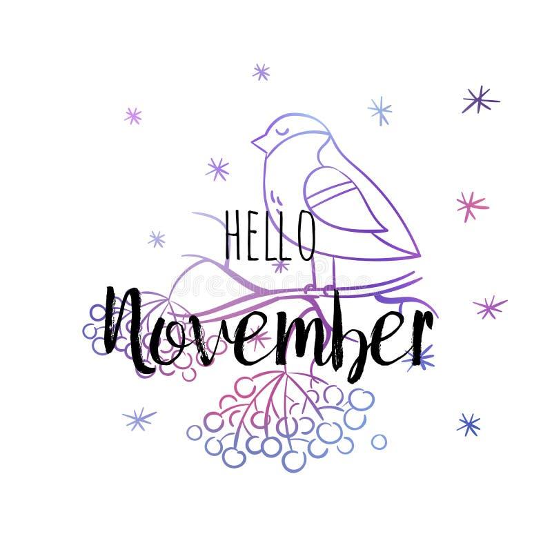 Hola cartel de noviembre con el piñonero, los snowlakes y el serbal Impresión de motivación para el calendario, planeador, tarjet stock de ilustración
