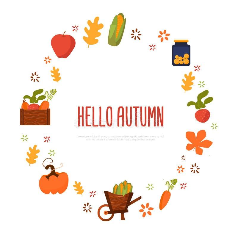 Hola cartel del festival de la cosecha del otoño con la zanahoria, la manzana y remolachas en círculo Ilustración del vector stock de ilustración