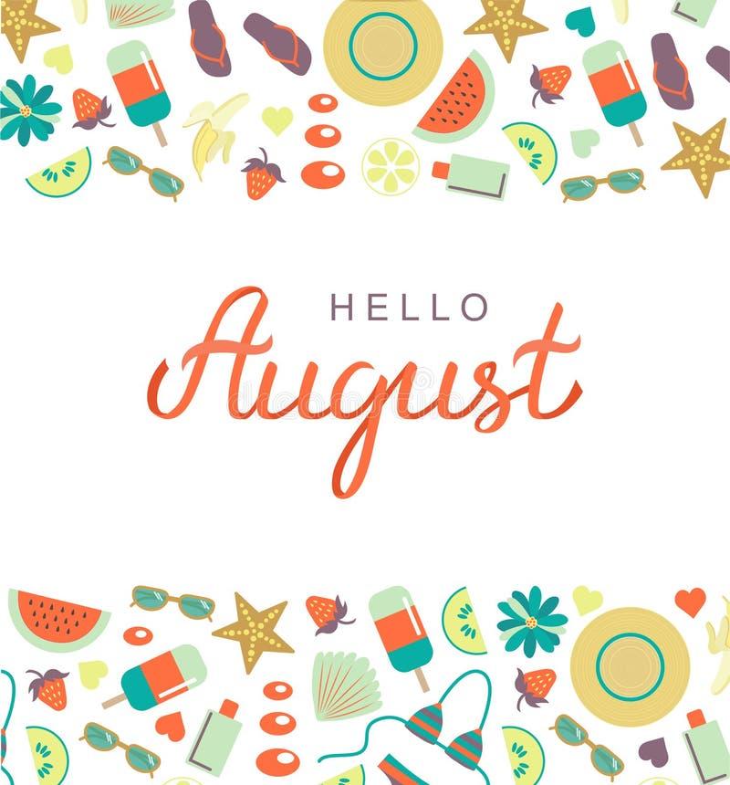 Hola cartel dibujado mano de las letras de la tipografía de agosto fotos de archivo