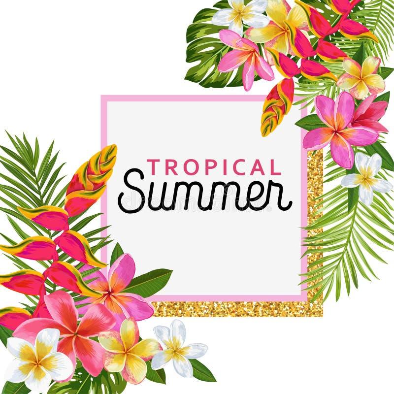 Hola cartel floral del verano con el marco de oro Diseño exótico tropical de las flores para la bandera de la venta, aviador, fol ilustración del vector