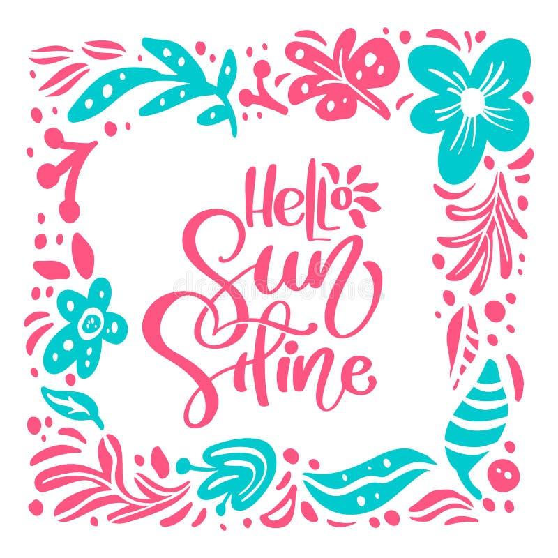 Hola cartel floral del verano con el marco Dise?o ex?tico tropical de las flores para la bandera de la venta, aviador, folleto, i ilustración del vector