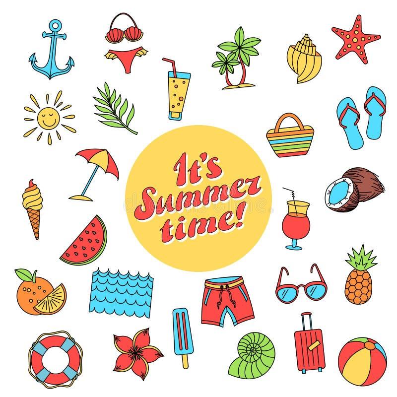 Hola colección de verano Ejemplo del vector de divertido colorido ilustración del vector