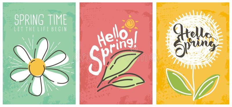 Hola colección estacional de las banderas de la primavera ilustración del vector