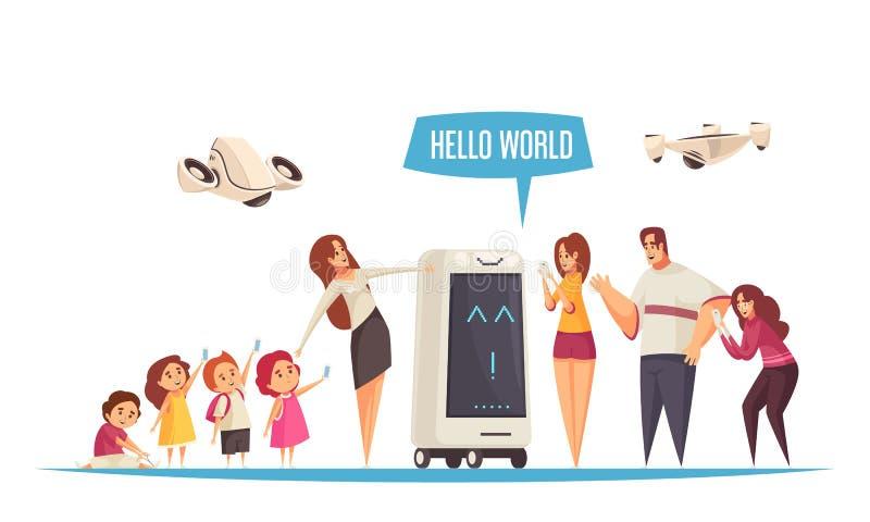 Hola composición de la excursión del robot libre illustration