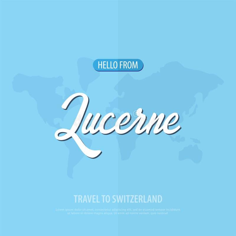 Hola de Alfalfa Viaje a Suiza Tarjeta de felicitación turística Ilustración del vector stock de ilustración