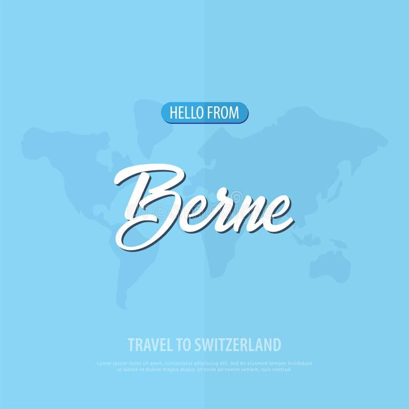 Hola de Berna Viaje a Suiza Tarjeta de felicitación turística Ilustración del vector ilustración del vector