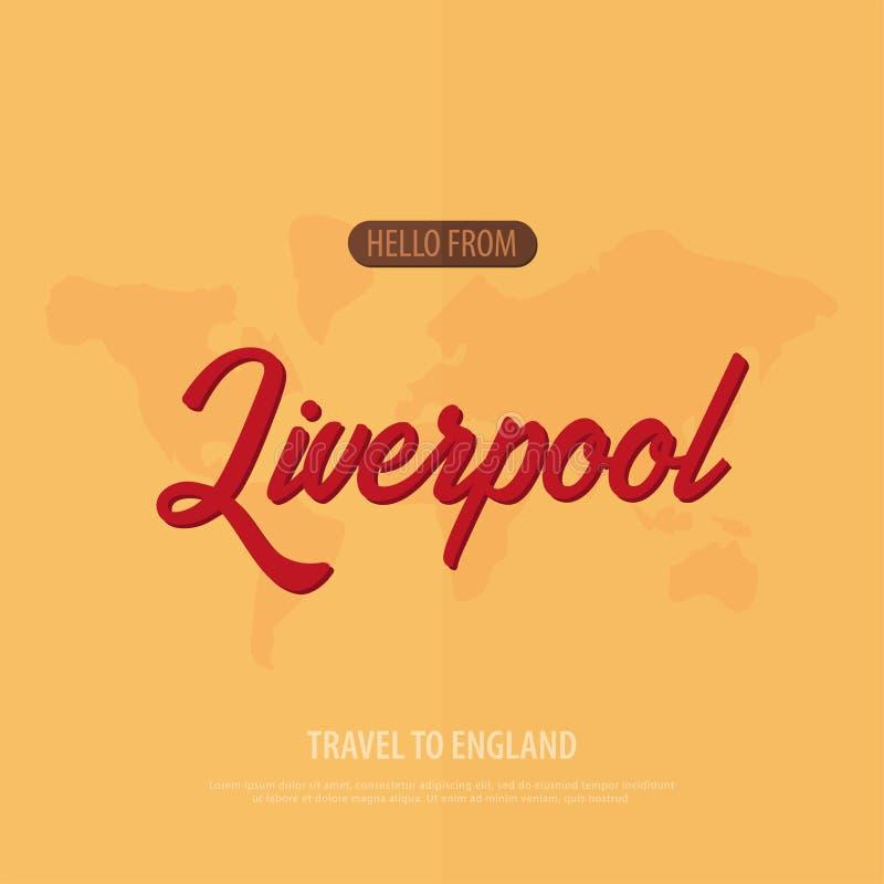 Hola de Liverpool Recorrido a Inglaterra Tarjeta de felicitación turística Ilustración del vector stock de ilustración