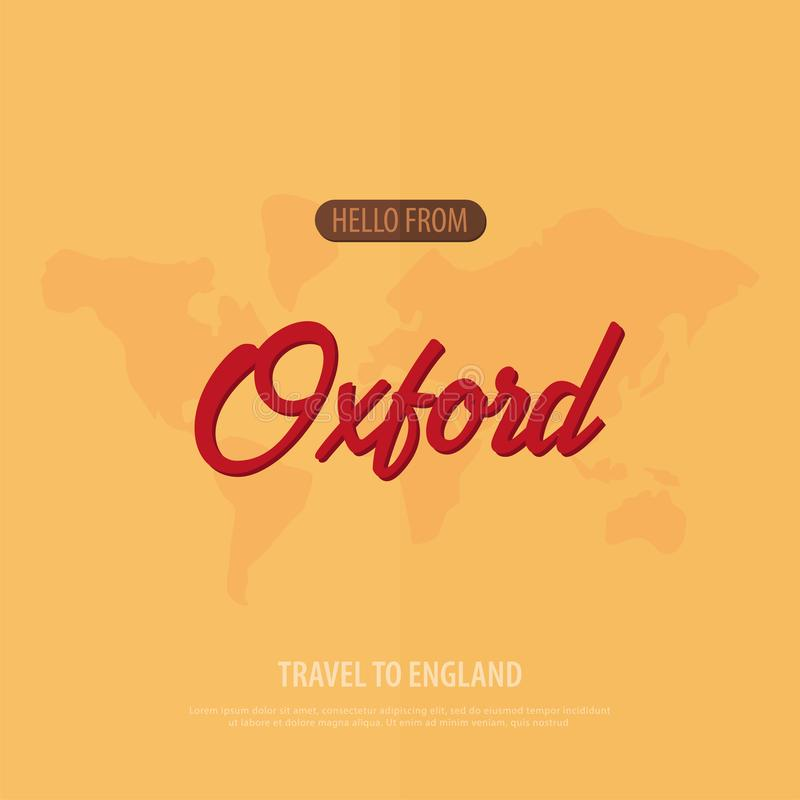 Hola de Oxford Recorrido a Inglaterra Tarjeta de felicitación turística Ilustración del vector libre illustration