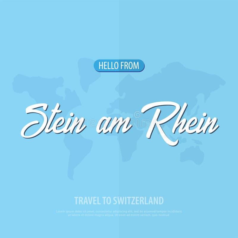 Hola de Stein am Rhein Viaje a Suiza Tarjeta de felicitación turística Ilustración del vector libre illustration
