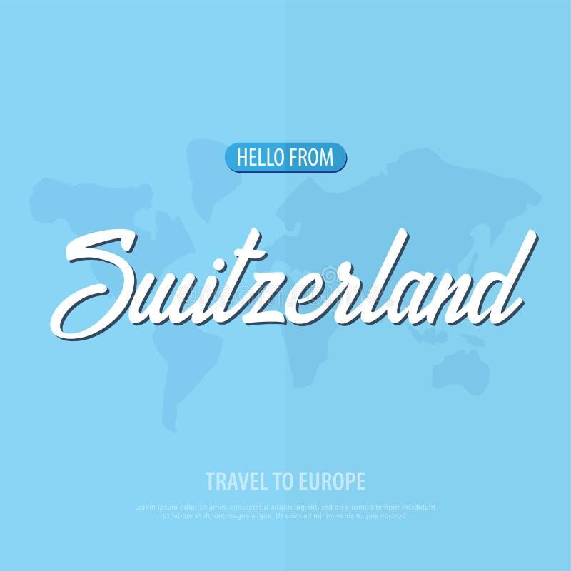 Hola de Suiza Viaje a Europa Tarjeta de felicitación turística Ilustración del vector ilustración del vector