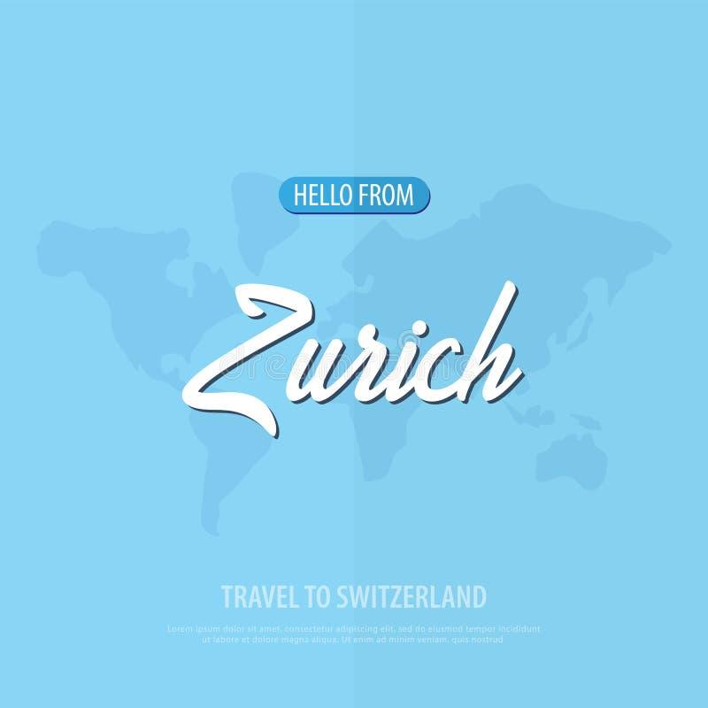 Hola de Zurich Viaje a Suiza Tarjeta de felicitación turística Ilustración del vector ilustración del vector