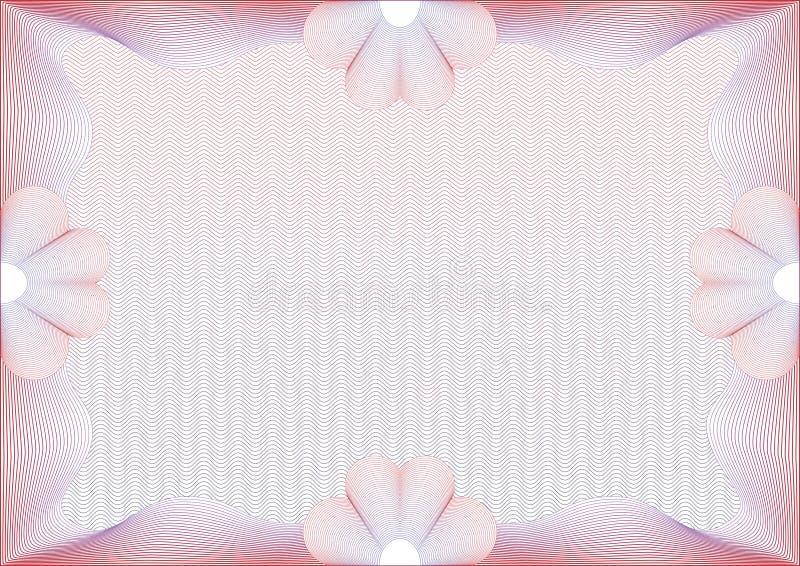 Hola detalló el certificado en blanco del guilloquis ilustración del vector
