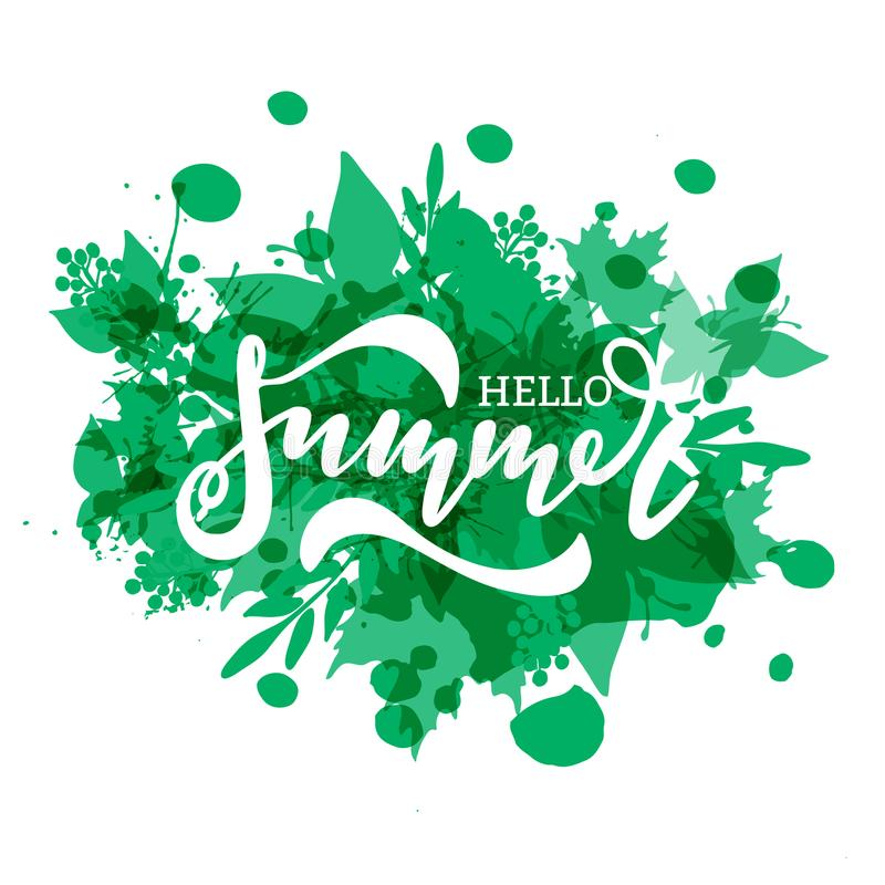 Hola diseño de la bandera del vector del verano stock de ilustración