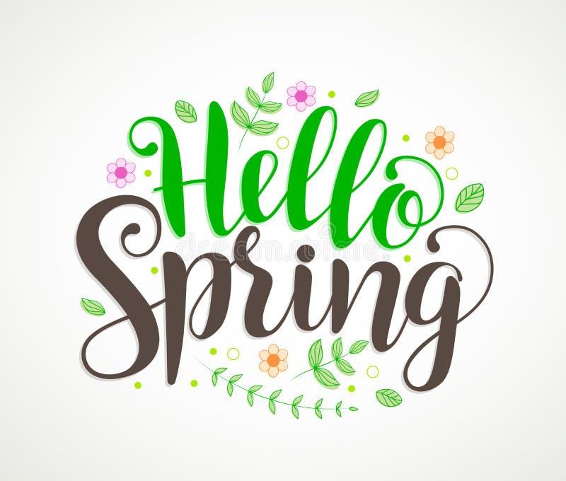Hola diseño del vector de la tipografía del texto de la primavera con las flores coloridas ilustración del vector