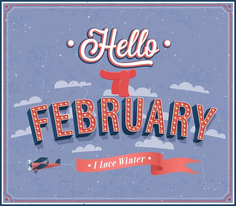 Hola diseño tipográfico de febrero. ilustración del vector