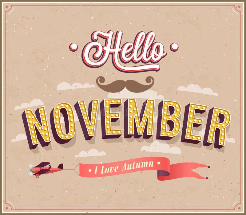 Hola diseño tipográfico de noviembre. libre illustration