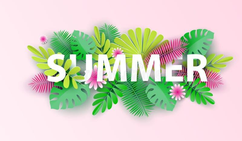 Hola diseño tipográfico del verano con las formas abstractas de corte de papel y de hojas tropicales Ilustración del vector stock de ilustración
