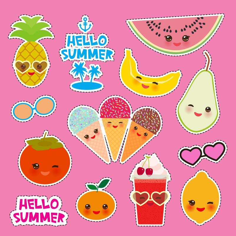 Hola diseño tropical brillante de la bandera de la tarjeta del verano, etiquetas engomadas de las insignias de los remiendos de l libre illustration