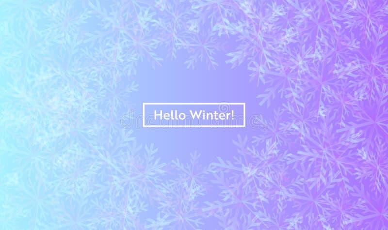 Hola disposición del invierno con los copos de nieve para el web, página de aterrizaje, bandera, cartel, plantilla del sitio web  libre illustration