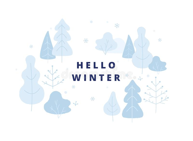 Hola ejemplo del concepto del invierno, elementos del parque del invierno, árboles, arbustos en tiempo nevoso Bandera, cartel en  libre illustration