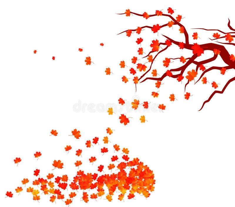 Hola ejemplo del otoño de un bosque en otoño con caer de las hojas ilustración del vector