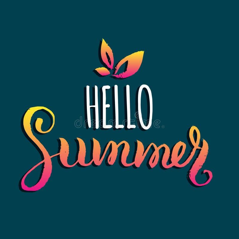 Hola ejemplo del vector del verano, fondo Logotipo de la cita de la diversión, etiqueta Mano que pone letras al cartel inspirado  ilustración del vector