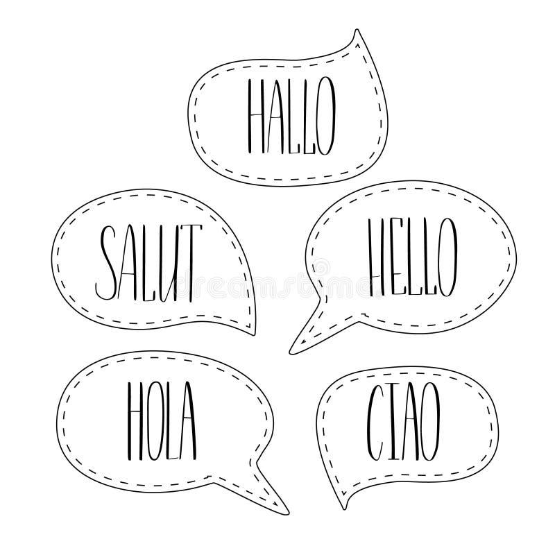 Hola el poner letras colorido del vector de las burbujas del discurso del garabato Inglés, francés, italiano, español y alemán mo stock de ilustración