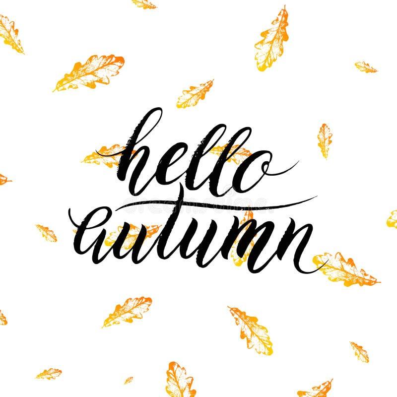 Hola el texto del otoño en naranja sale del fondo stock de ilustración