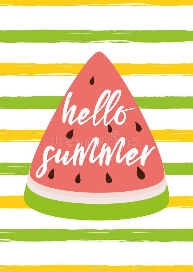Hola el texto del verano en el amarillo del verde de la sandía rayó el ejemplo brillante del vector de la tarjeta de verano del f stock de ilustración