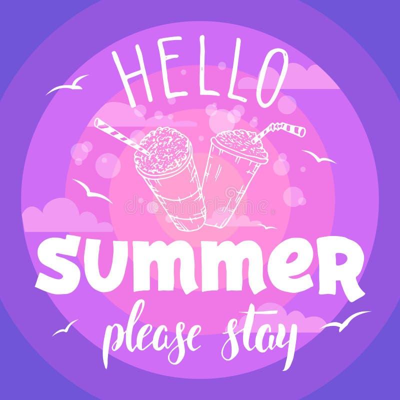 Hola el verano permanece por favor el aviador del partido ilustración del vector