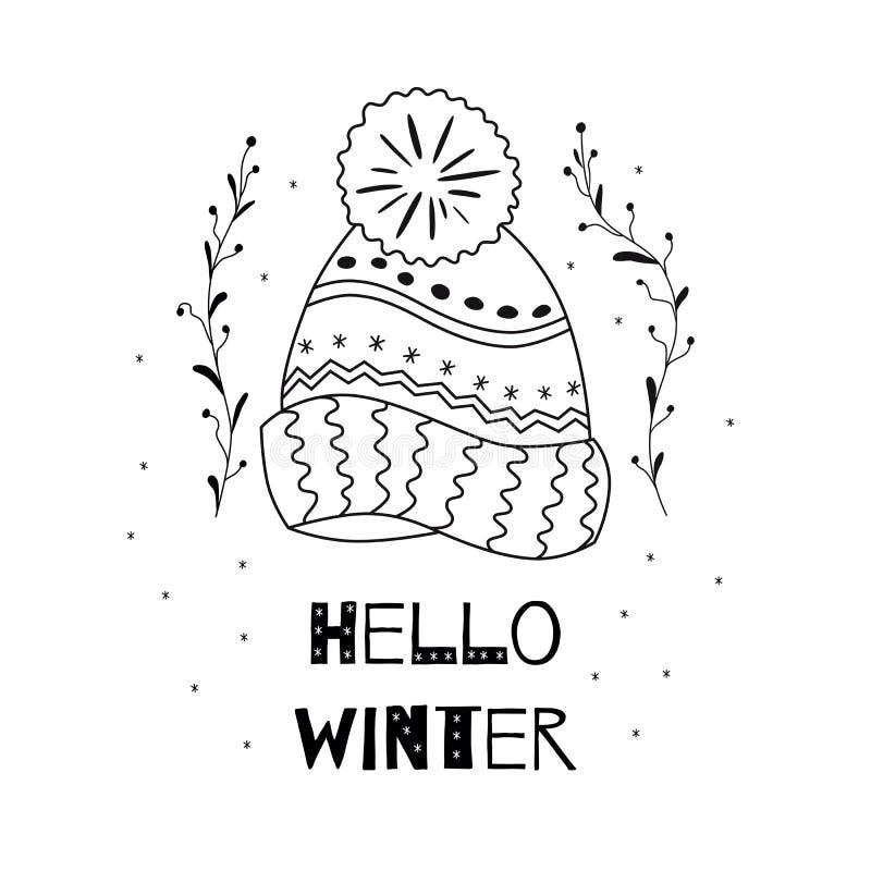 Hola elemento bosquejado casquillo de lana hecho punto texto del tiempo de la Navidad del invierno que taja vector del concepto stock de ilustración