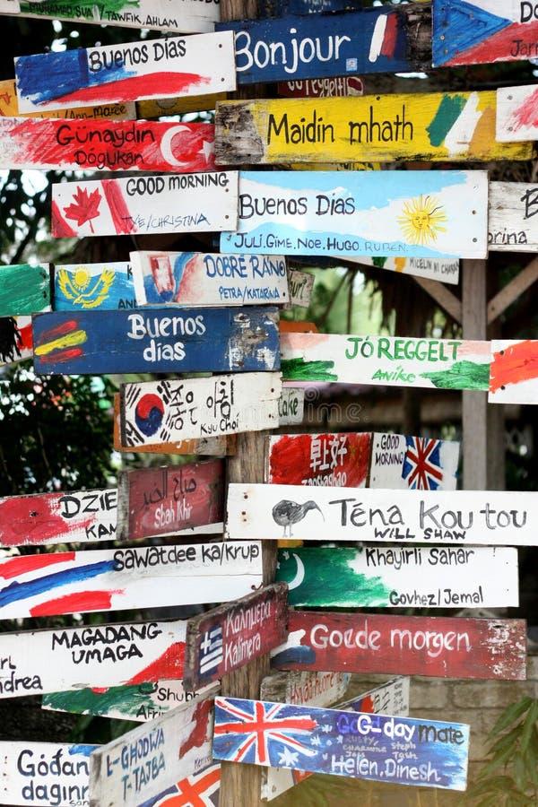 Hola en muchas idiomas fotos de archivo libres de regalías
