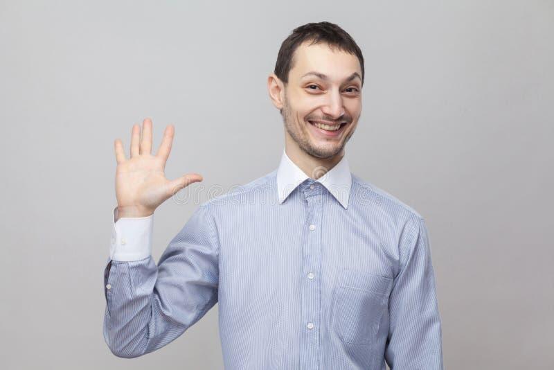 Hola, feliz de verle Retrato del hombre de negocios hermoso divertido de la cerda en la situación azul clara clásica de la camisa fotos de archivo libres de regalías