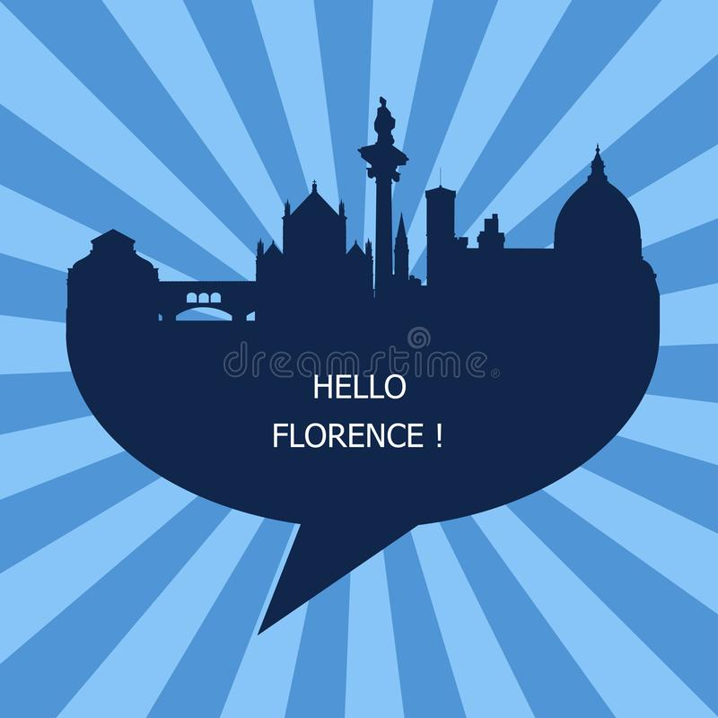 Hola Florencia, viaje a Florencia ilustración del vector