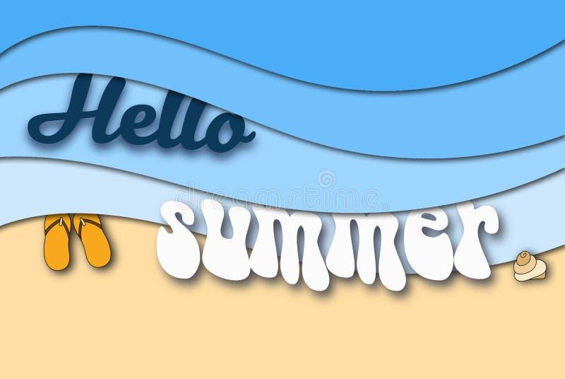 Hola fondo del arte del papel del verano imágenes de archivo libres de regalías