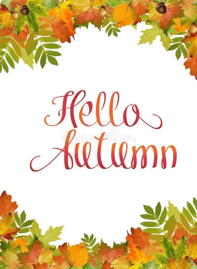 Hola fondo del otoño, con estilo y follaje del vector de la acuarela de la hoja de arce libre illustration