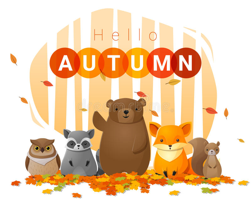 Hola fondo del otoño con los animales salvajes ilustración del vector