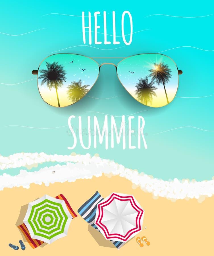 Hola fondo del verano con el vidrio y la palma Ilustración del vector libre illustration