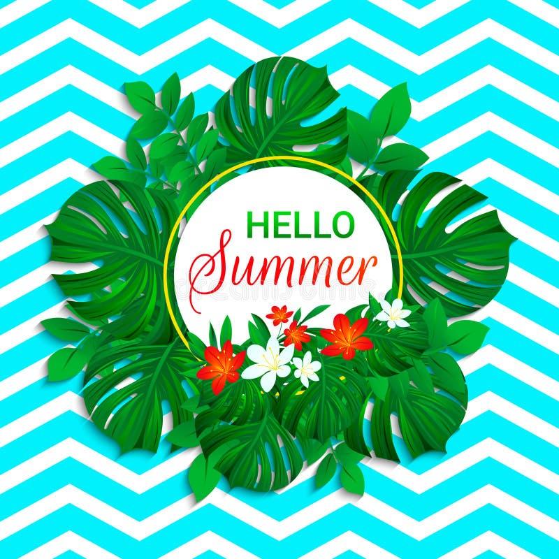 Hola fondo del verano Diseño tropical Hojas exóticas, flores con el texto simple Tarjeta del vector con el marco coloreado floral stock de ilustración