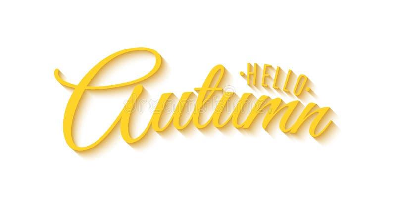 Hola frase del otoño Publicidad del fondo Tarjeta de felicitación de la invitación caligrafía 3D y letras Fondo blanco Cov festiv ilustración del vector