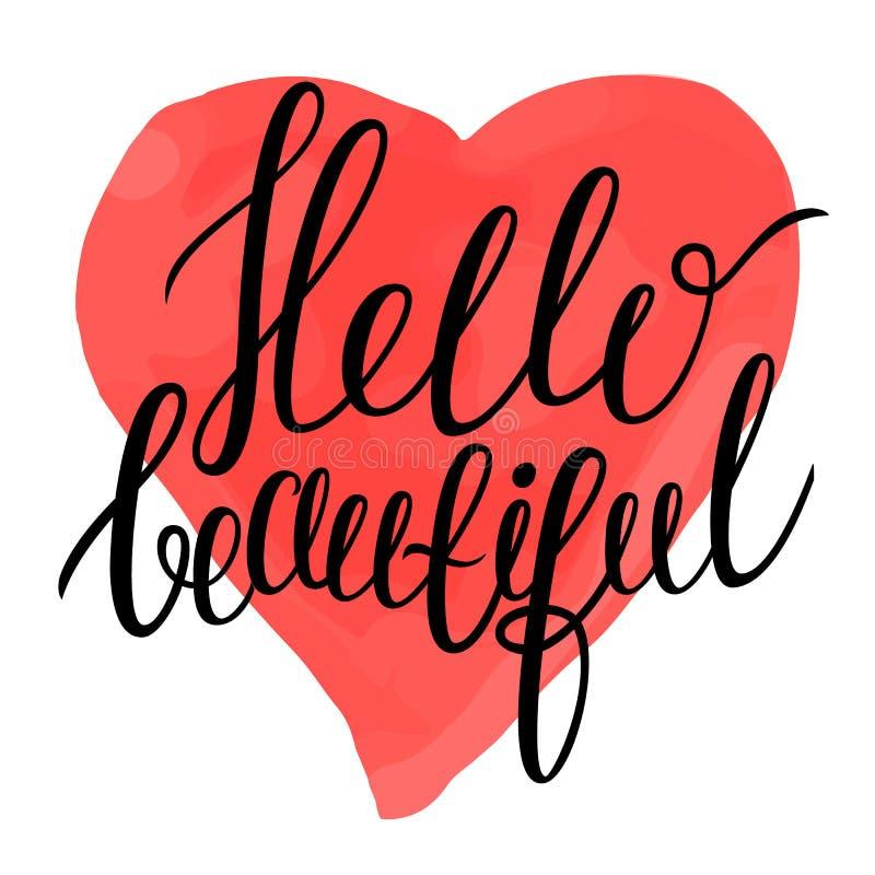Hola hermoso - el texto de la caligrafía en acuarela colorida le gusta el fondo del corazón stock de ilustración