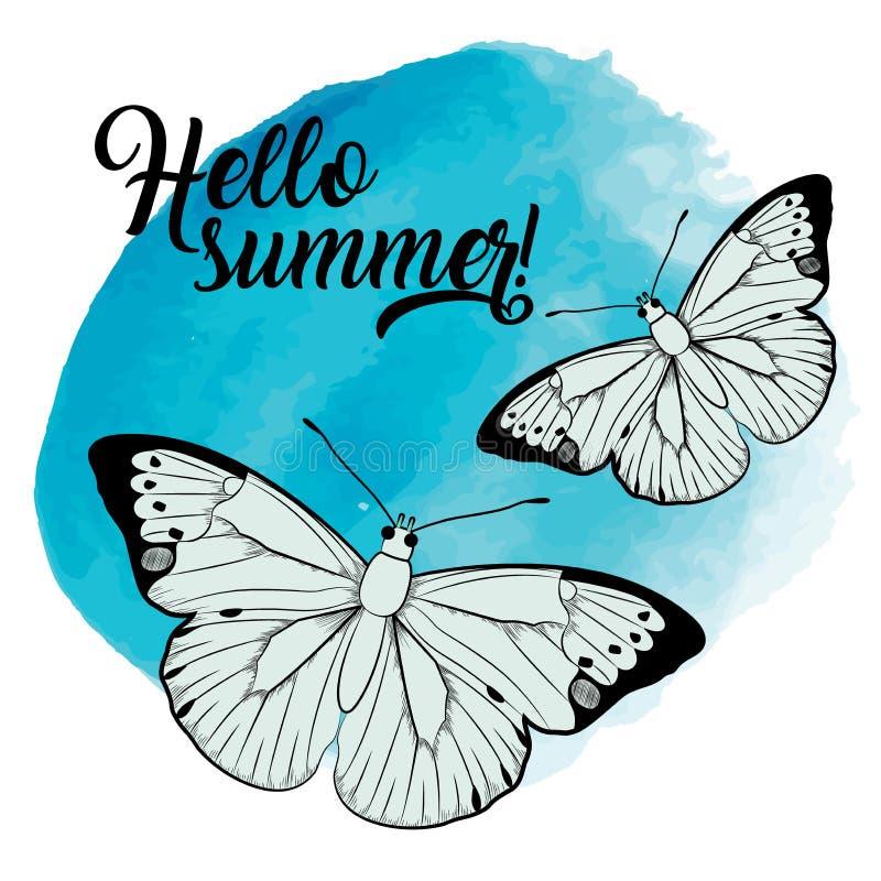 Hola illustartion del verano con las mariposas ilustración del vector