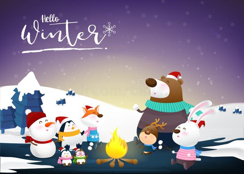 Hola invierno con la nieve animal 002 de la historieta y de la noche ilustración del vector