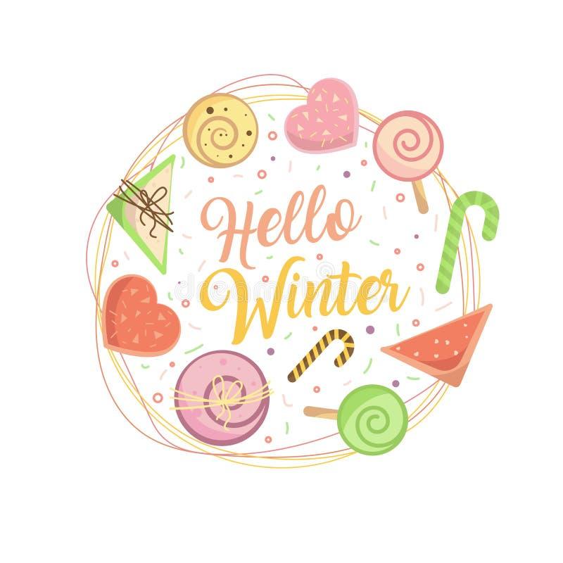 Hola invierno Tarjeta dulce por el Año Nuevo stock de ilustración