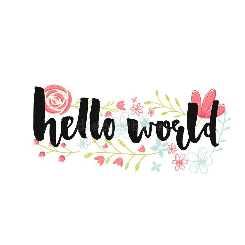 Hola la bandera del mundo con las letras del cepillo y el rosa en colores pastel dan las flores exhaustas libre illustration