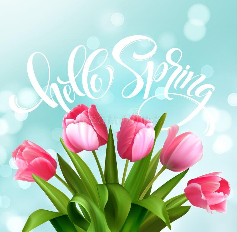 Hola letras de la mano de la primavera con la flor del tulipán Ilustración del vector libre illustration