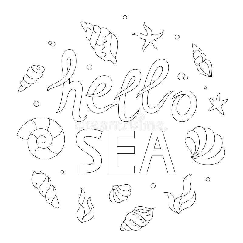 Hola Letras Del Mar, Página Adulta Del Colorante Ilustración del ...