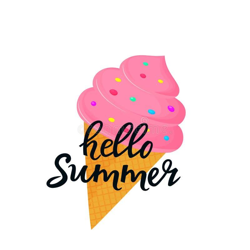 Hola letras exhaustas de la mano del verano con helado en un cono de la galleta Puede ser utilizado como diseño de la camiseta stock de ilustración